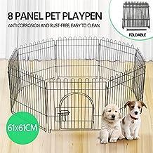 Popamazing 8 Panel Foldable Metal Puppy Exercise Playpen Pet Fence Rabbit Run Kennel Pet Supplies Indoor/Outdoor