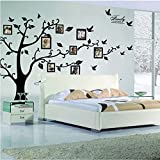 World2home Black 3D DIY Photo Tree PVC Wall Decals/Adhesive Family Wall Stickers