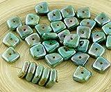 20pcs Picasso-Braune lasur auf Blau Glanz Flach Gewellten Quadrat-Chip Waschmaschine Tschechische Glas-Perlen 10mm x 4mm