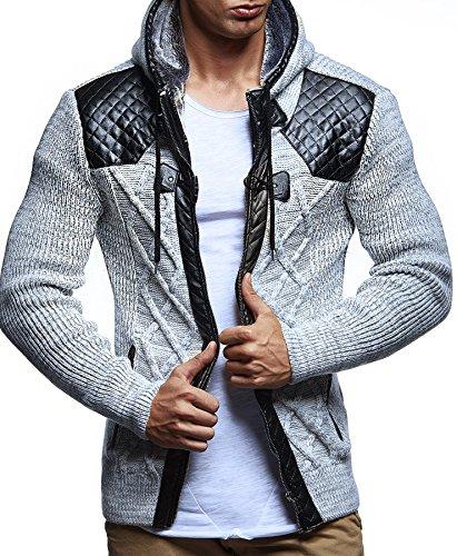 LEIF NELSON Herren Jacke Strickjacke Kapuzenpullover Pullover Hoodie Sweatjacke Freizeitjacke Winterjacke Zipper LN5355; Grš§e M, Ecru-Grau