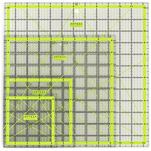 ARTEZA Patchwork-Lineal   4.5 x 4.5, 6 x 6, 9.5 x 9.5, 12.5 x 12.5 Zoll   Set mit 4 Verschiedenen Größen   Transparentes Acryl Quilt-Lineal mit Zweifarbige Rasterlinien   Ideal zum Nähen und Quilten