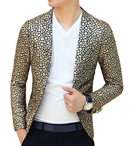 Ouye Uomo Slim Fit Oro Nero Floreale Blazer Giacca (Nero Sport Coat Blazer)