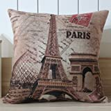 Kingstons Frankreich Paris Eiffelturm Leinen Kissen Fall für Kissenhülle (45x 45cm)