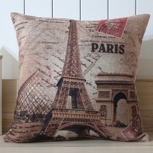 Kingstons Francia Parigi Torre Eiffel lino federa per cuscino Cover (45x 45) - Eiffel Lino