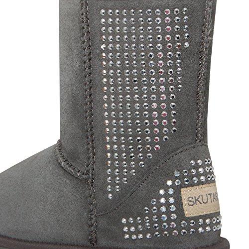 Schwarz Grau Schlange (SKUTARI Wildleder Damen Winter Boots | Extra Weich & Warm Gefüttert | Schlupf-Stiefel mit Stabile Sohle | Pailletten Glitzer Meliert Schlangen-Look (41, Grau/5022))