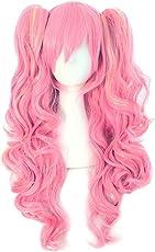 MapofBeauty farbige Lolita lange lockige geheftet auf Pferdeschwanz Cosplay Perücke (rosa/blond)