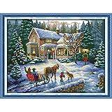 Anself Kit de Broderie DIY au Point de Croix Fait à la Main Travaux d'Aiguille en Motif de Paysage de Noël pour la Décoration de Maison...