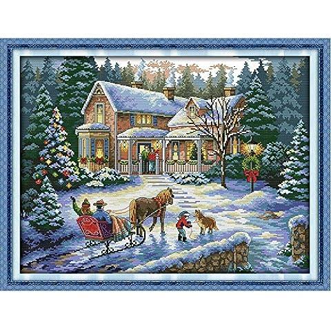 Anself 57*44cm DIY Kit de Broderie au Point de Croix Fait à la Main Travaux d'Aiguille en Motif de Paysage de Noël pour la Décoration de Maison 14CT