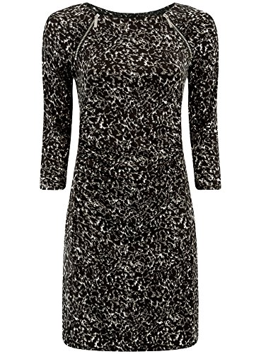 oodji Collection Femme Robe Ajustée avec Zips Décoratifs Noir (2912A)