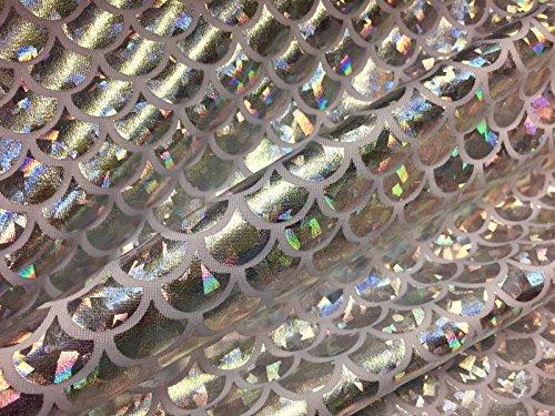 Tissu imprimé écailles de sirène, matériau bi-extensible Lycra et élasthanne - 150 cm de large - hologramme argenté et blanc (vendu au mètre)