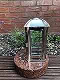Stone & More Grablicht 24cm x 13cm x 13cm Grablaterne und 3D Rose aus Edelstahl Inklusive Granitsockel Vanga 22cm x 22cm x 6cm Moderne Lampe mit Sockel und Relief
