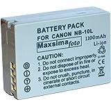Maxsima - Compatible NB-10L, NB10L Battery 1100mAh For Canon Powershot SX40 HS, SX50 HS, G1 X, G15, G16.