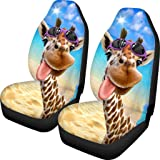 Showudesigns Car Seat Covers Front Seats Only Giraffe Print Bucket Seat Covers for Cars Trucks Sedan Dirty-Proof Bucket Cover