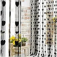 Gosear - Cortina de cadena línea borla para pared puerta ventana portal Home Decor Divisor(1 m x 2 m,Negro)