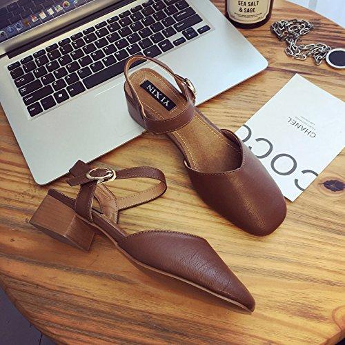 Lgk & fa estate sandali da donna estate Baotou sandali Fashion all-match tacchi con grossolana Brown
