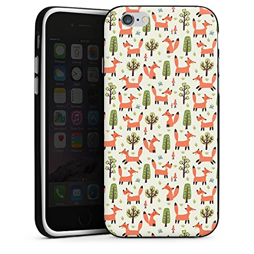 Apple iPhone 7 Plus Silikon Hülle Case Schutzhülle Fuchs Muster Füchse Comic Silikon Case schwarz / weiß