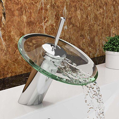 """VILSTEIN© Waschtisch-Armatur Einhebelmischer Einhand Wasserhahn mit Wasserfall-Effekt Armatur für Bad Badezimmer Waschbecken, Verchromt, Glas-Auslauf, Hell-Grün, Standard Anschluss 1/2"""""""