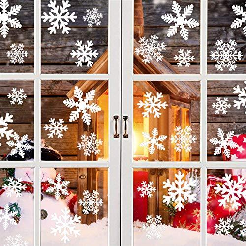 fensterbilder schneeflocken Schneeflocken Aufkleber, Fensterbilder Weihnachtsdeko Tolle Fensterdeko Abziehbilder für Weihnachten, Christbaumschmuck,Winter Dekoration, Abnehmbare Fensterdeko Statisch Haftende Pvc Aufkleber Weiß.