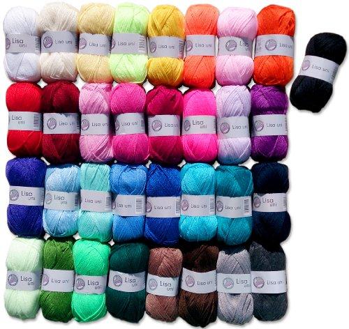 10x50 Gr. Lisa Strickgarn Strick-Wolle Set 1 (keine Farbauswahl möglich) + 1 Gratis Schmetterling by Gründl Wolle