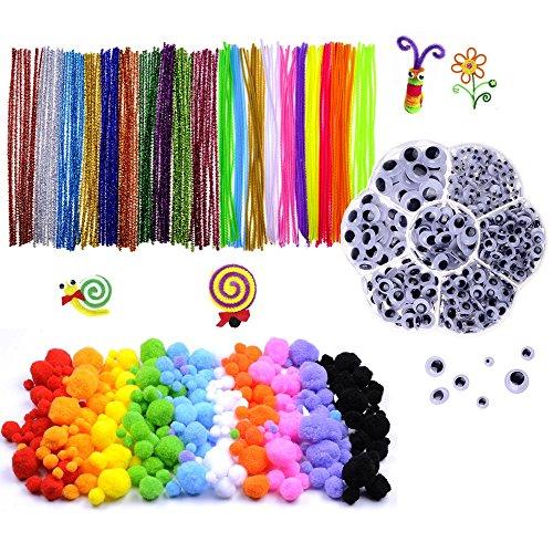 Pompons, Selbstklebend Wiggle Kulleraugen, Glitzer Pfeifenreiniger Chenilledraht für Handwerk DIY Kunstbedarf, 1000 Stück