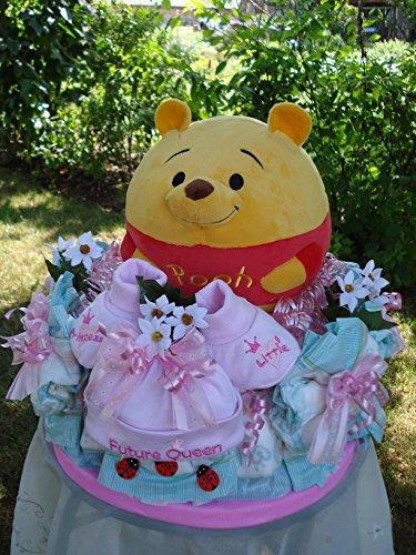 """Windeltorten-Paradies Windeltorte""""Großer Kugelball Winnie Pooh mit Soundchip und Babyset""""Taufe,Geburt,Hochzeit!!"""