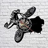 A/N Biciclette da Corsa BMX Orologi Sportivi Dirt Bike Track Racking Vinile Orologio da Parete Bicicletta da Parete Art Decor per Soggiorno