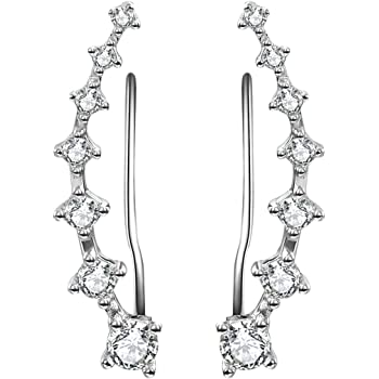 4f31b76b1 Cubic Zirconia Cuff Crawler Earrings,Hypoallergenic 18K White Gold ...