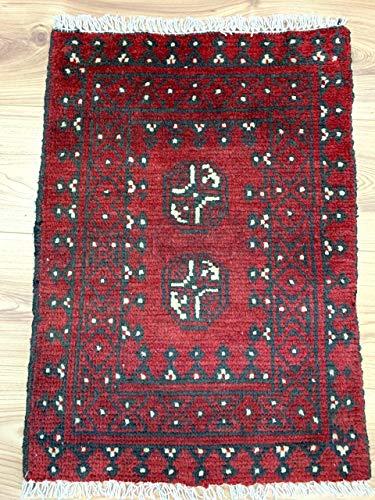 Rugstore-outlet tappeto passatoia afgano aqcha fatto a mano, con frange tribali rosse, 100% lana, 46 x 64 cm