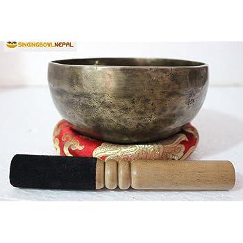 Sakralchakra und der sexuellen Chakra D Note auntic von Hand gehämmert Tibet Meditation Klangschale 16,5cm–Yoga Alte Schale von Klangschale Nepal