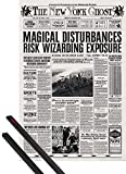 1art1® Poster + Suspension : Les Animaux Fantastiques Poster (91x61 cm) The New York Ghost, Journal, La Une Et Kit De Fixation Noir