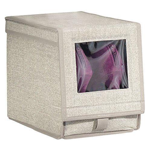 MetroDecor mDesign Schuhaufbewahrung aus Stoff (medium) – stapelbare Schuhbox mit Sichtfenster, Klettverschluss und Klappdeckel – praktische Aufbewahrungsbox im Schrank oder Regal – beige