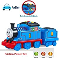 FunBlast Train Set for Kids with Music and Light, Bump and Go Friction Train Set for Kids with Wagon | Light & Sound Toys for Kids,Boys,Girls