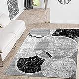 Teppich Günstig Kreis Design Modern Wohnzimmerteppich Grau Creme Schwarz Meliert, Größe:80x150 cm