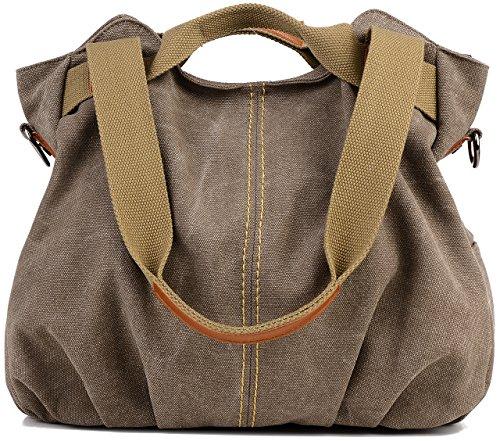 Groß Canvas College Bag Damen Shopper Bag Schultertasche Segeltuchtasche Braun