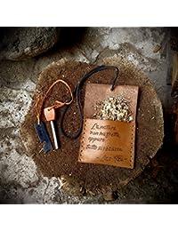 """Custodia Pietra Focaia """"StartFire"""" in Pelle contenitore per legna da accensione Cuoio Fatto a mano Made in Italy Camping Avventura Fuoco"""