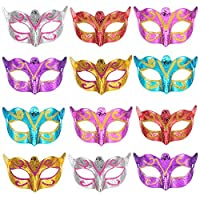 Bememo 12 Pieces Unisex Gold Shining Plated Masquerade Mask Wedding Props Mardi Gras Party Costume Accessory