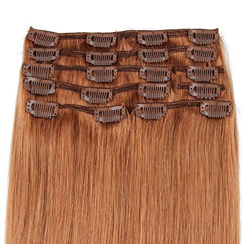 Beauty7 120g Extensions de cheveux humains à clip 100% Remy Hair #10 Couleur Marron Longueur 60 cm