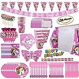 DLGF Unicornio Cumpleaños Papel Bandera Banderín Papel Taza Papel Toalla Sombrero Tela Cubiertos Set,Decoraciones para Fiestas Infantiles de Cumpleaños
