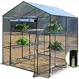 Foil greenhouse tent tunnel for tomatos etc | Entrance door + Zipper | 2 shelves ...