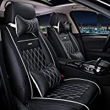 Autositzbezüge Sitzbezüge Textil PU-Leder Für Universal, black white