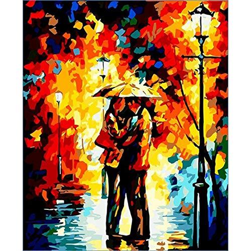 XIAOBAOZISZYH Digitale Malerei Für Anfänger Digitale Malerei Digital Kit Für DIY Poster Wand Paar Art Deco Öl Leinwand Färbung Einzigartiges Bild.40 × 50 cm