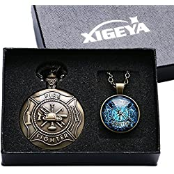 XIGEYA Bronze Fire Fighter Control Quartz Pocket Watch Necklace Pendant Mens Gift with Box