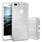 CLM-Tech Hülle für Apple iPhone 8 Plus Glitzer Schutzhülle [Hartplastik Case mit äußerer TPU Silikon Umrandung] Backcover, Silber