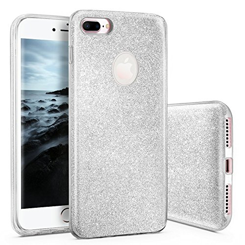 CLM-Tech kompatibel mit iPhone 8 Plus Hülle Glitzer Schutzhülle [Hartplastik Case mit äußerer TPU Silikon Umrandung] Backcover, Silber
