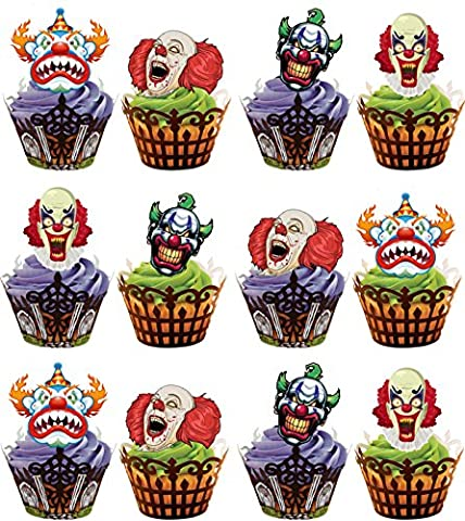 Scary Clown Gesichter Party Pack – essbar Vanille Geschmack Cup Cake Topper Stand Up Dekorationen, 12