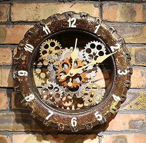 Retro industrielle Art-Gummireifen-Wand-Wand-Taktgeber-Kaffeerahmen-Wand-Taktgeber-Qualitäts-Bewegung-Hauptart- und weisewand-Dekoration-dekorative Kunst-Geschenk-Taktgeber (Größe: 30cm * 30cm)