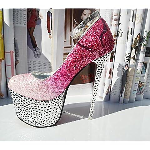 Punta Super sexy tacco alto oro diamante scarpe da donna , pink , 39