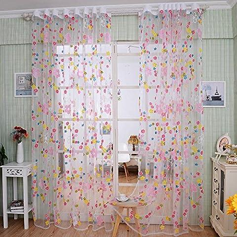 CF® Rideaux Tulle Couleur Fenêtre Écran Fenêtre Porte Rideau Panneau Transparent 200cm x 100cm 1PCS