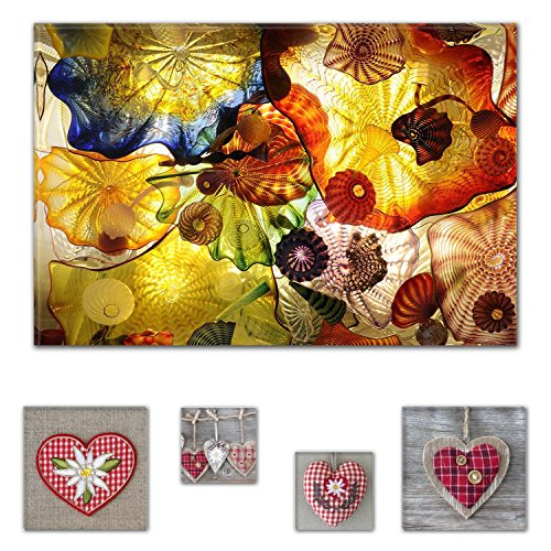 Eco Light Art Wand Leinwand Bundle Faszinierende Gefühl Hypnotic Abstrakt 80 x 119,9 cm für Home Décor und Adorable Herzen Collage Set of 4 Gerahmter Kunstwerk für Home Décor (Ski Hose Urban)