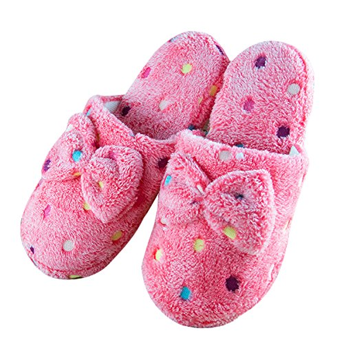 Butterme Winter Wärme Damen Plüsch Hausschuhe Mädchen Bunte Tupfen Bogen Knoten Innenboden Anti-Rutsch Weicher Pantoffeln Slipper,EU 40-41 Heißes Rosa